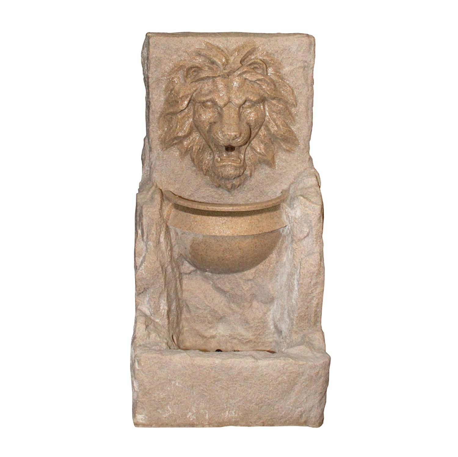 Northlight QL88867 LED Lighted Fierce Lion Head Spring Outdoor Garden Water Statuary and Fountains, 38.5'', Brown