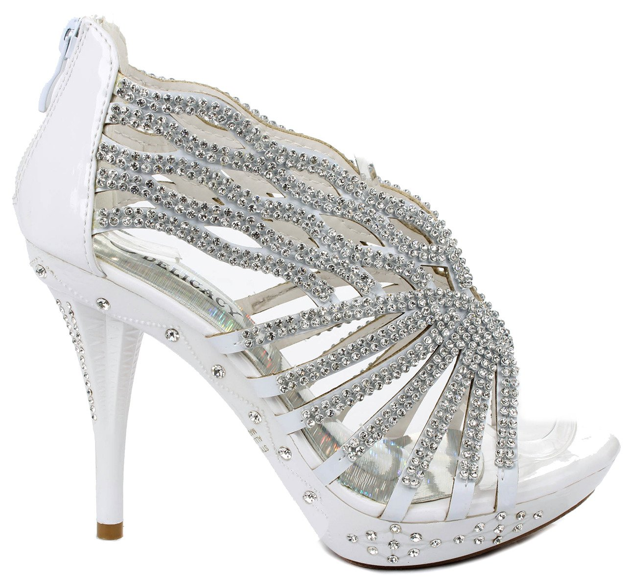 Delicacy Decent76 Dazzling Rhinestone Wave Cut Out Strappy Evening Dress High Heel Pump Sandals B00W4WYO54 5 B(M) US|White