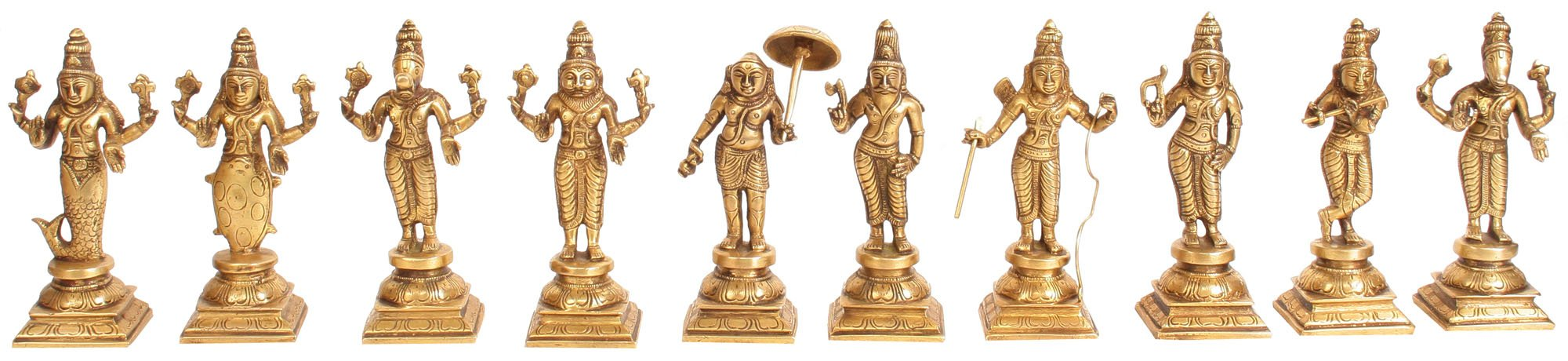 Dashavatara -Ten Incarnations of Lord Vishnu (From Left - Matshya, Kurma, Varaha, Narasimha, Vaman,