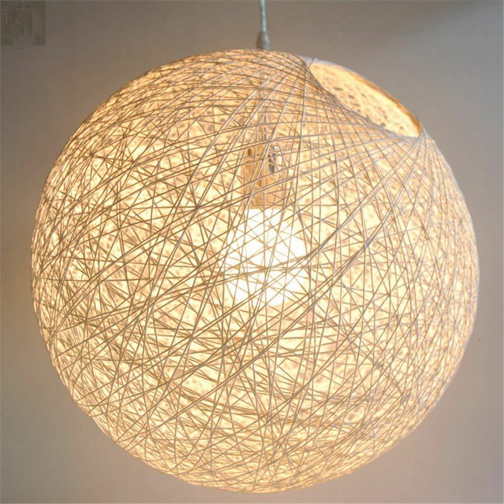 SGWH ® Handgestrickte Lights_Nordic Einfacher Rattan-Handgewebter heller Raum-Garten-Kaffeehaus-Fenster-kreativer Hanf-Ball-Nachttischleuchter 20CM, 20CM, Blau