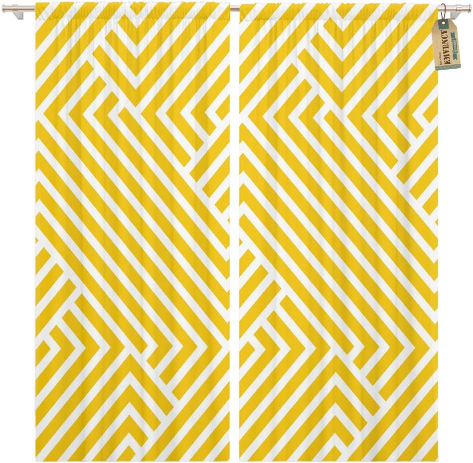 Golee Window Curtain Line The Geometric Pattern by Stripes Yellow Gold Abstract Home Decor Rod Pocket Drapes 2 Panels Curtain 104 x 63 inches 713MbvQwSwL