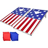 GoSports Cornhole PRO Regulation Size Bean Bag Toss Game Set - Foldable (American Flag, LED, Black, Red & Blue Designs)