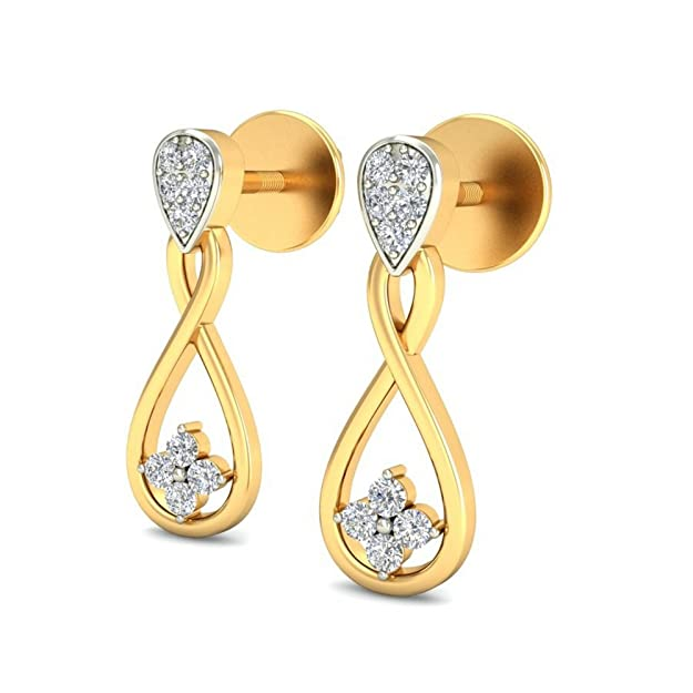 Belle Diamante 14KT Yellow Gold and Diamond Stud Earrings Women
