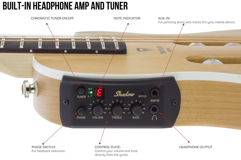 Escape de viajero Mark III de la guitarra eléctrica acústica viaje, preamplificador Shadow con sintonizador: Amazon.es: Instrumentos musicales