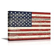 "wall26 - USA Flag on Vintage Wood Background- Canvas Art Wall Decor - 16""x24"""