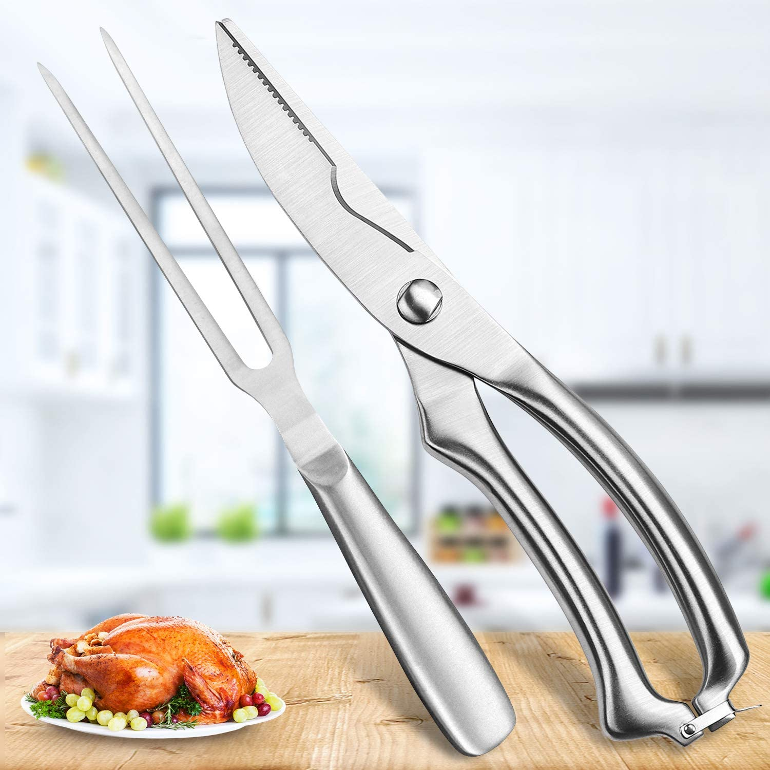 Heavy Duty Stainless Steel Poultry Shears, Premium Ultra Sharp Spring-Loaded Kitchen Food Scissors For Bone, Chicken, Meat, Fish, Seafood.BBQ Fork for Multiple Use(Silver)