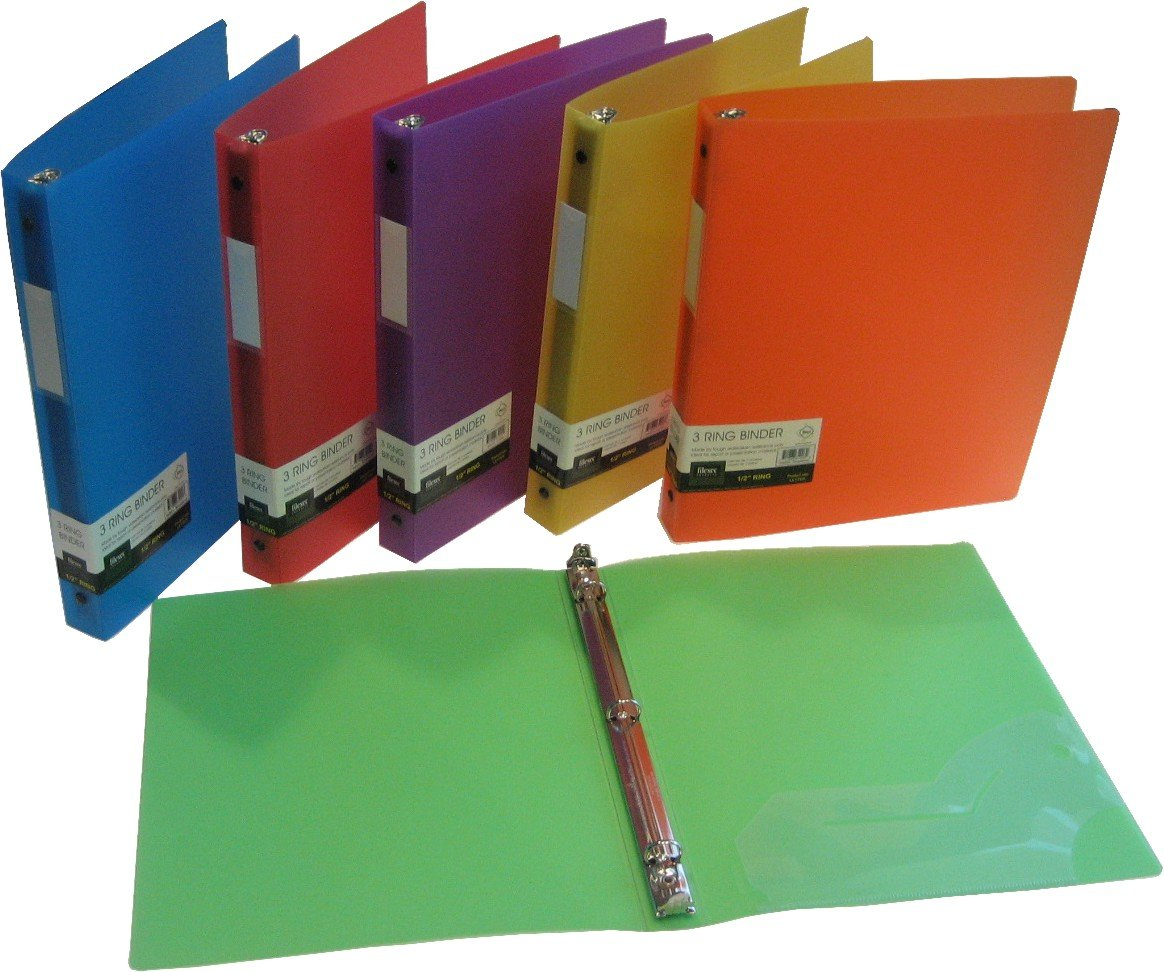 Filexec 50003-6492 6492, 1'' Frosted Ring Binder, Set of 6, 6 Assorted Colors, Blueberry, Strawberry, Grape, Lime, Lemon, Tangerine by Filexec