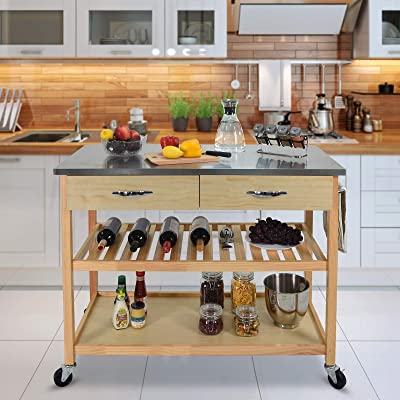 Buy Charavector Kitchen Islands Carts With Wheels Stainless Steel Counter Top 3 Tier Rolling Portable Island For Kitchen With Drawer 2 Spacious Storage Butcher Block Bar Carts Wood Frame Online In Greece B08ky3mb3h