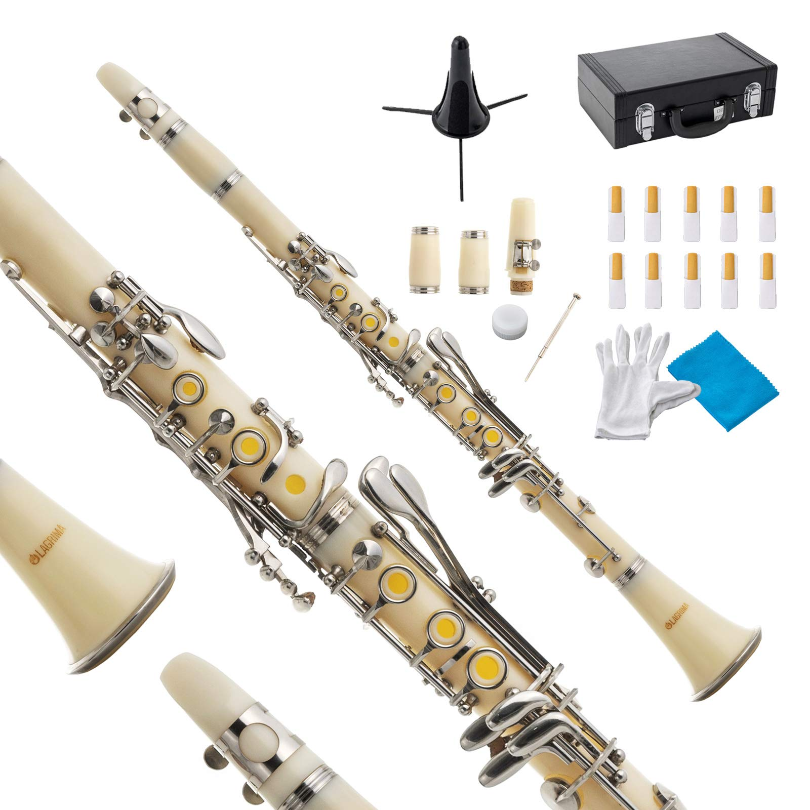 LAGRIMA B Flat Beginner Student Clarinet with 2 Barrels, Case, Stand,10 Reeds, Mouthpiece and Warranty (White) by LAGRIMA