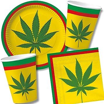 Dh Konzept Carpeta Cannabis Reggae 37 Piece Set With Paper Plates