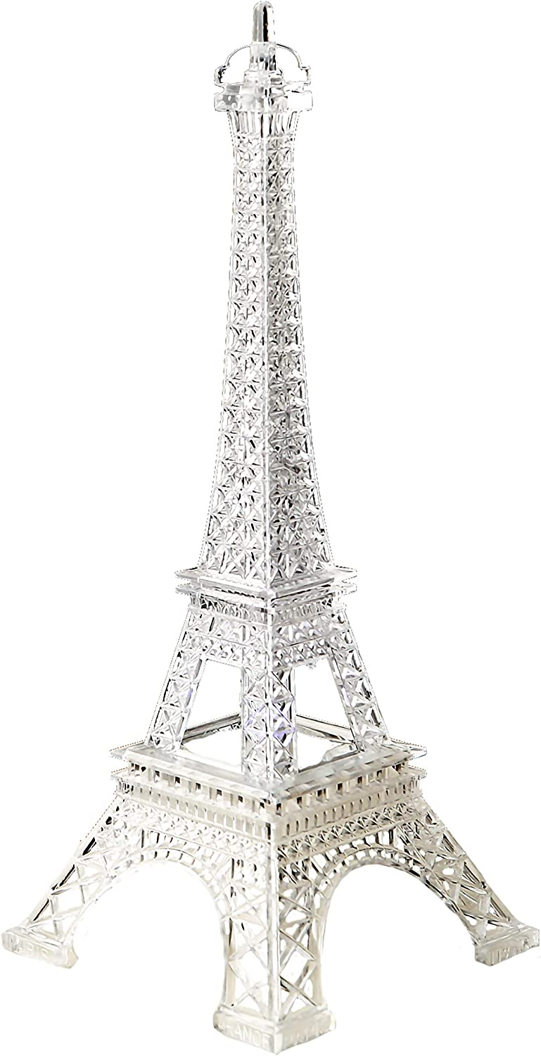 FASHIONCRAFT 2301 Eiffel Tower Centerpiece in Clear Acrylic Plastic with Colorful LED Lights, Paris Party Favor, Wedding Favor, 1 Piece