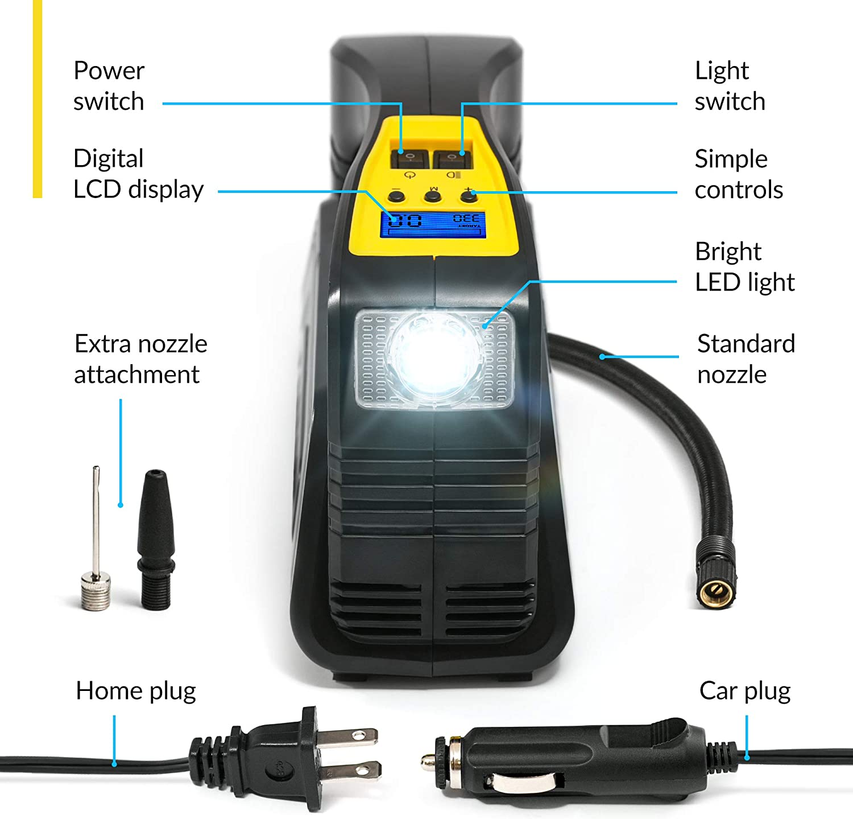LED Luce 3 Adaptadores de Boquillas y Fusible Adicional 0-35PSI en 4 Mins Inflador Ruedas Coche con Apagado Autom/ático DC 12V 150PSI Atmonas Compresor Aire Coche Compresor Aire Portatil Digital