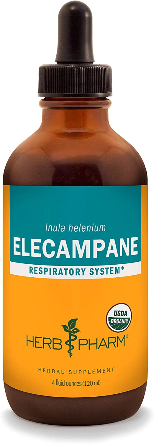 Herb Pharm Certified Organic Elecampane Liquid Extract for Respiratory System Support – 4 Ounce
