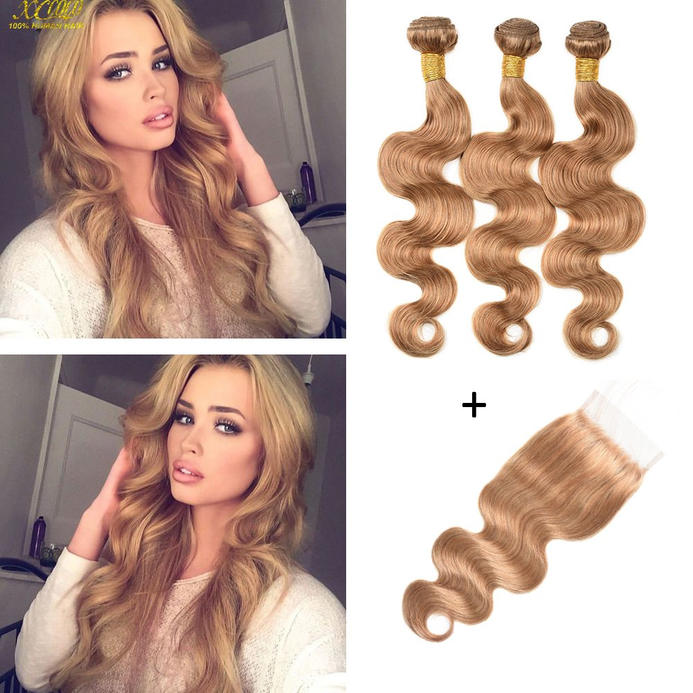 XCCOCO Hair 3 Bundles Honey Blonde Body Wave with Lace Closure 8A Peruvian Virgin Remy Human Hair Bundles Deals and 4x4 Lace Frontal Closure (16 18 20inch+14inch Closure)