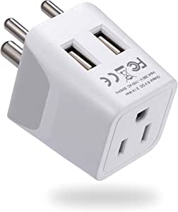 Ceptics Canada to India, Pakistan, Nepal Travel Adapter (Type D) - Dual USB - Charge your Cell Phone, Laptops, Tablets - Grounded (CTU-10)