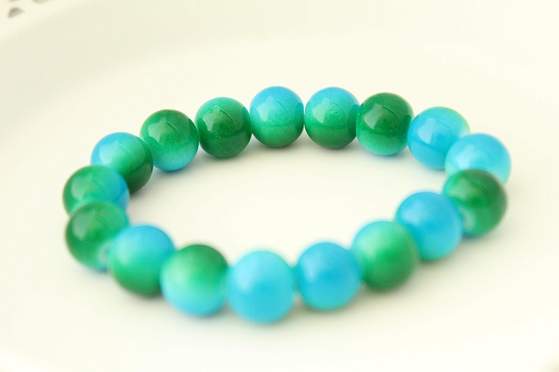 Amazon.com: Green Blue Glass Bead Stretch Bracelet: Handmade