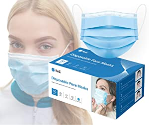Reli. Face Masks (50 Masks) Disposable Face Mask - 3 PLY - Breathable, Ear Loop Mask 50 Pack Pc (Blue)