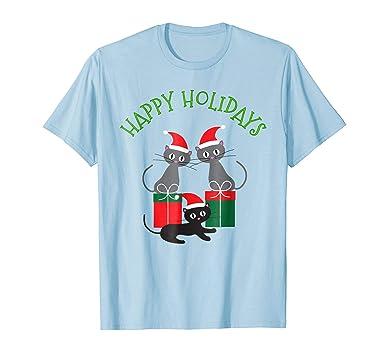 mens whimsical cat christmas shirt cats in santa hats tee 2xl baby blue
