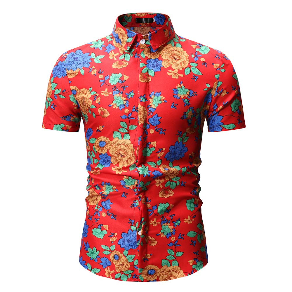 HaoDong Mens Loose-Fit Printed Short Sleeve Plaid Shirt Button Down Shirt Summer