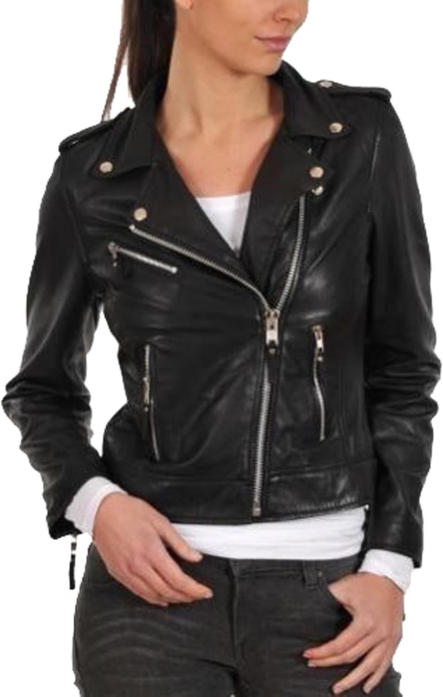 New Women Genuine Real Leather Jacket Ladies Slim Fit Biker Coat LFWN637