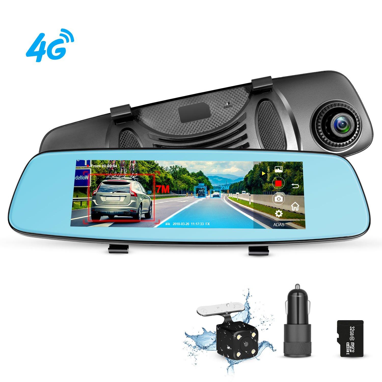 Dash Cam Rear View Mirror Car Camera, ADAS 4G 7.84'' Wifi FM GPS Bluetooth Dual Lens Rear view Mirror Video Recorder Full HD 1080P Car Camera 32GB Card Car Charger