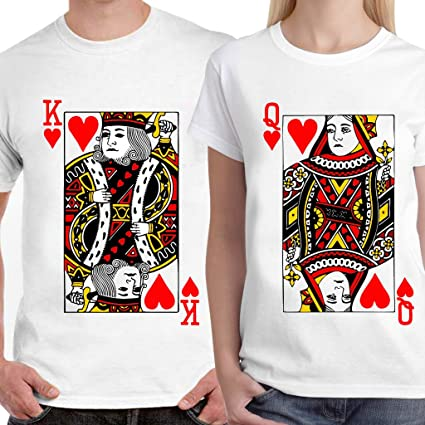 Buy Powerpuff - King   Queen Heart Playing Card(Red) Unisex Couple T ... 553c7b89c
