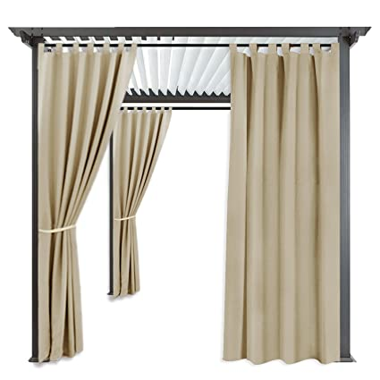 RYB HOME Outdoor Shades Blind   Sunlight Block Mildew Resistant Weather  Repellent Tab Top Blackout Outdoor