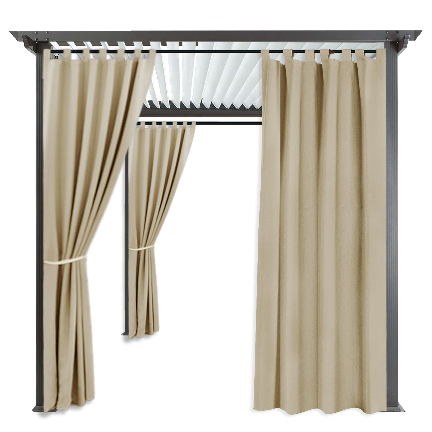 Indoor Outdoor Blackout Privacy Curtain - RYB HOME Tab Top Blackout Curtain Drape Fade Resitant UV Protection for Patio & Pergola, 1 Piece, 52 inch by 108 inch, Cream Beige