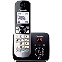 Panasonic DECT Digital Cordless Phone with Answering System and Single Handset, Black (KX-TG6821ALB)