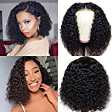 Ainmeys short bob wigs 2x6 lace closure wigs brazilian curly wave Lace Front wigs human hair curly bob wigs for black women 150% Density Pre Plucked with bady hair (8inch, 2x6 lace closure)