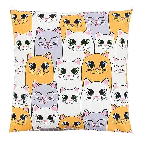 TupTam Funda para Cojin con Diseño Decorativo para Niños, Colorido Gatos, 40 x 60 cm