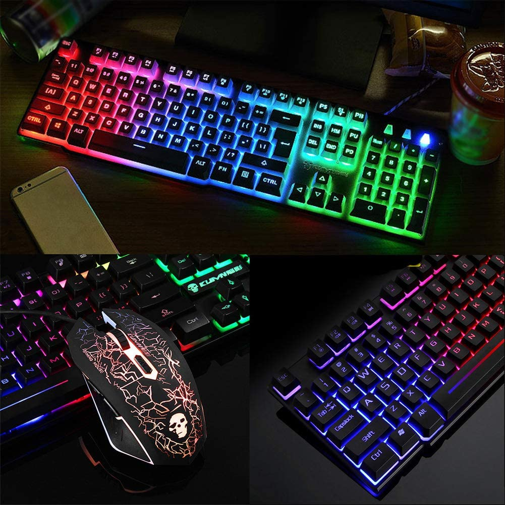 SSEDEW USB Office Rainbow Backlight Keyboard Mouse Set Mechanical for PC Laptop Desktop Gaming Stylish Ergonomic Combo Black