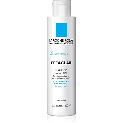 La Roche-Posay Effaclar Clarifying Solution Face Toner for Acne Prone Skin with Salicylic Acid & Glycolic Acid, 6.76 Fl. Oz.