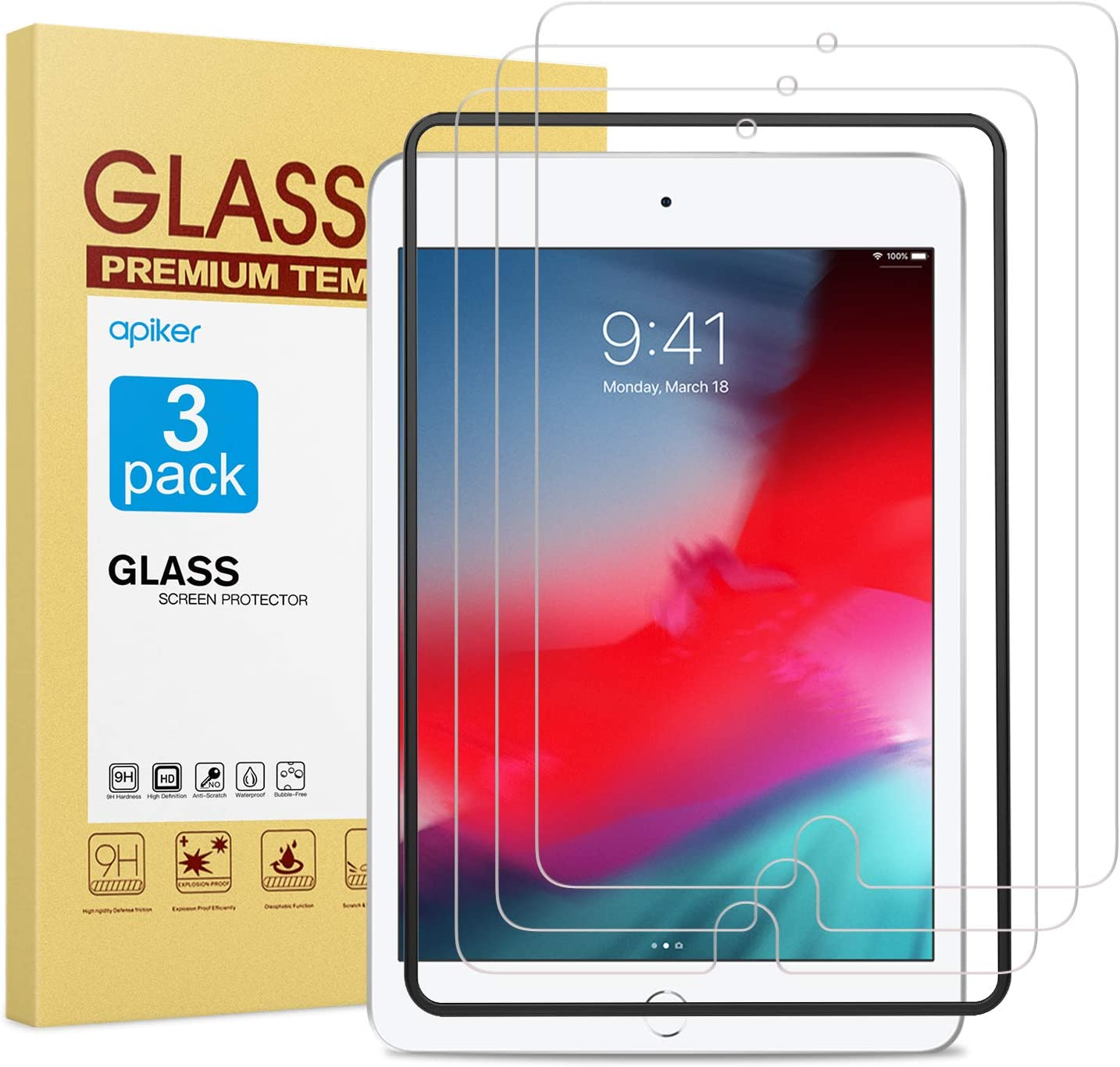 apiker [3-Pack] Screen Protector for iPad Mini 5 2019 / iPad Mini 4, 9H Hardness Tempered Glass Screen Protector with Alignment Frame/Scratch Resistant for iPad Mini 5/4, 9.7 Inch