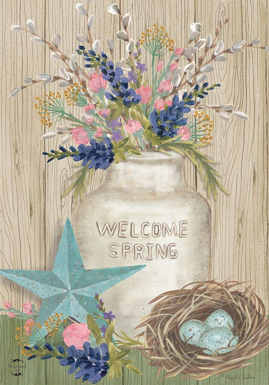 "Briarwood Lane Gifts of Spring Primitive Garden Flag Mason Jar 12.5"" x 18"""