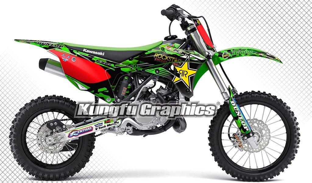 Kungfu Graphics Rockstar Custom Decal Kit for Kawasaki KX 85 KX 100 2014 2015 2016 2017 2018 2019, Red Green Black