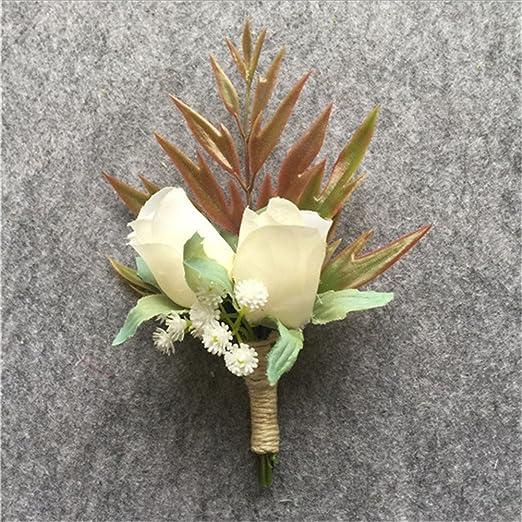 weddingbobdiy Artificial blanco rosa flor estrellada novio ...