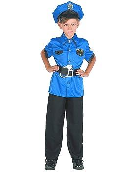 Generique - Disfraz polícia niño Azul M 7-9 años (120-130 cm ...