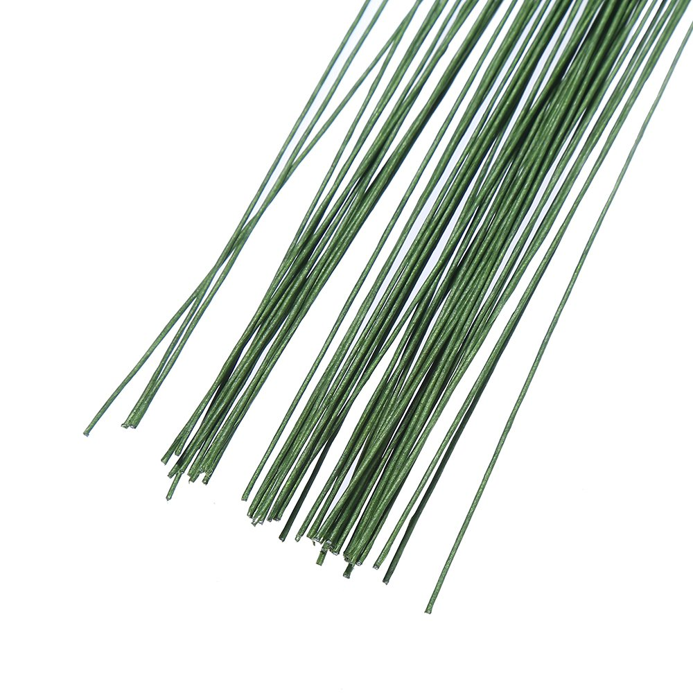 Decora 24 Gauge Green Floral Wire Green Paper-Wrapped Floral Stem Wires for Crafts 16 inch,50//Package