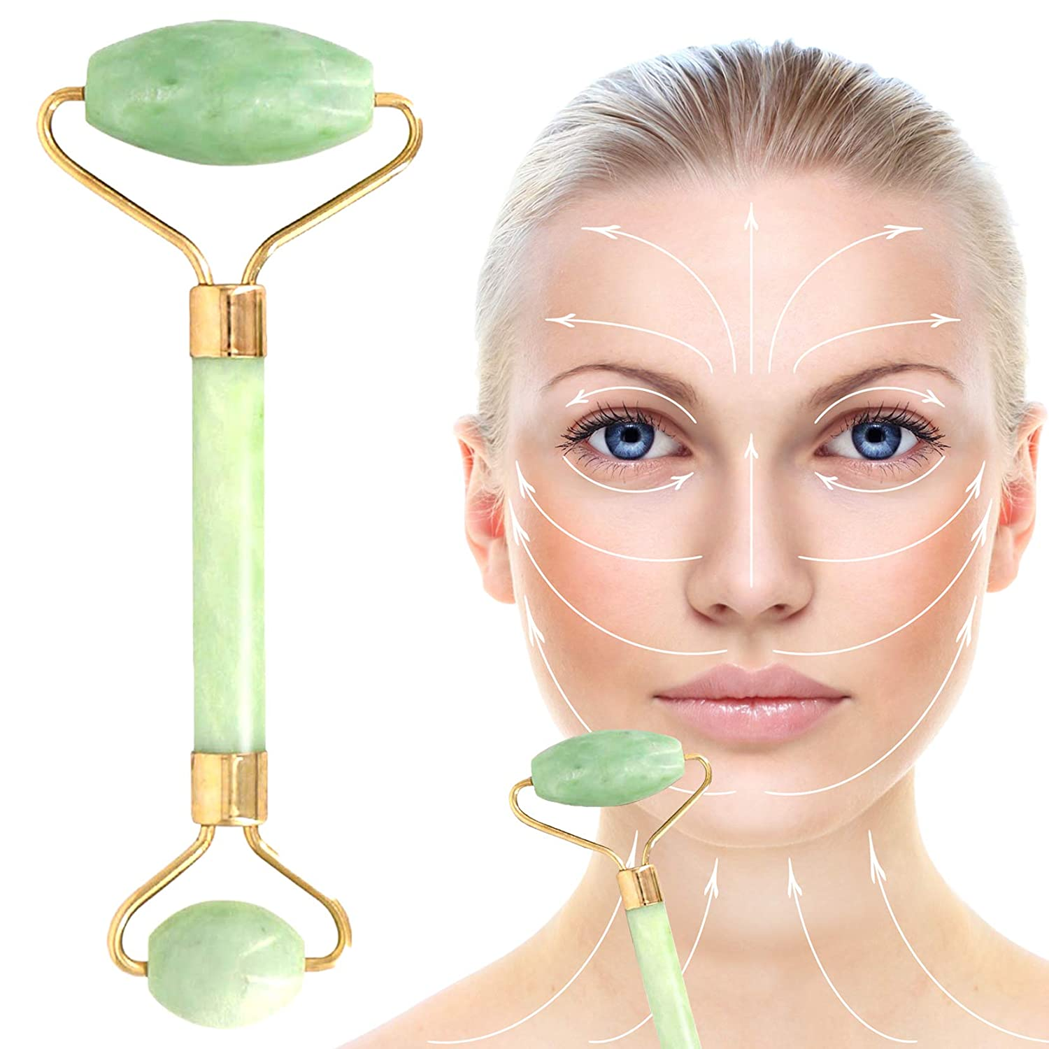 Amazon.com: Chi Jade Roller for Face - 100% Natural Jade Face Roller -  Facial and Neck Massage Tool for Anti-Aging, Puffiness, Wrinkles, Firming,  ...