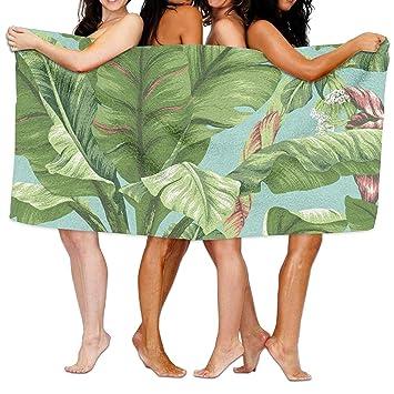 xcvgcxcvasda Banana Leaf Toallas de Playa Ultra absorbentes de Microfibra Toalla de baño Picnic Mat para Hombres Mujeres niños diseño de patrón único: ...