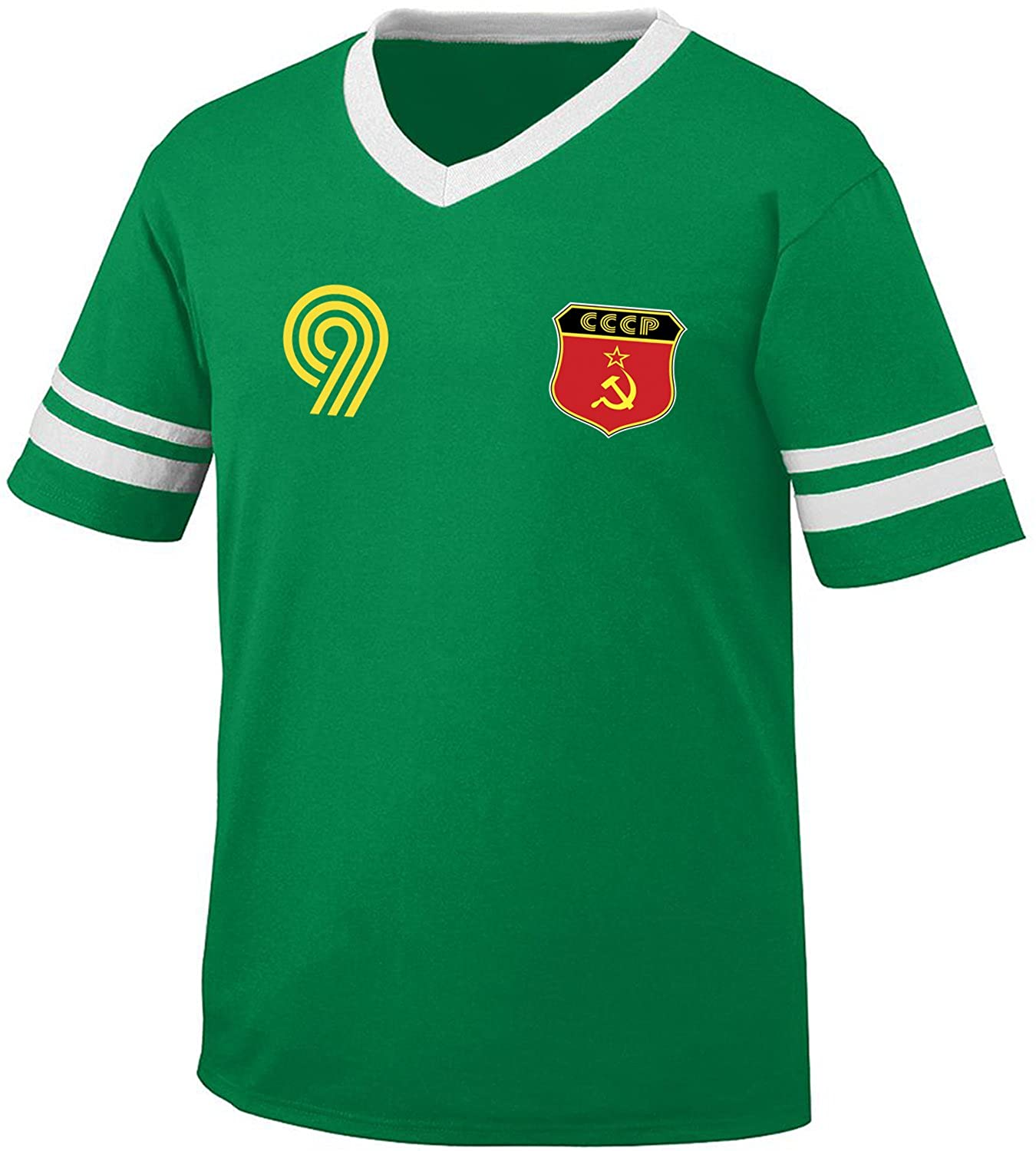 competitive price c04f6 c2aed Amdesco CCCP Soviet Union USSR Soccer Style Crest and Number Men's Retro  Soccer Ringer T-Shirt