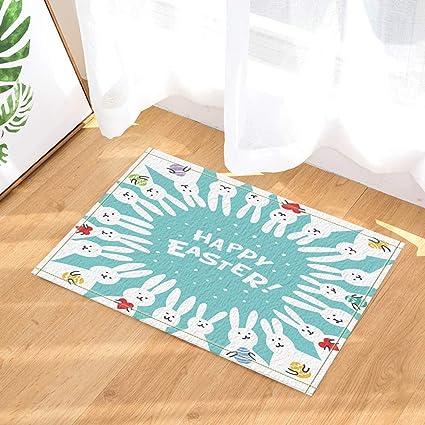 Happy Easter Bunny Eggs Non Slip Bathmat Shower Rug Door Mat Kitchen Carpet