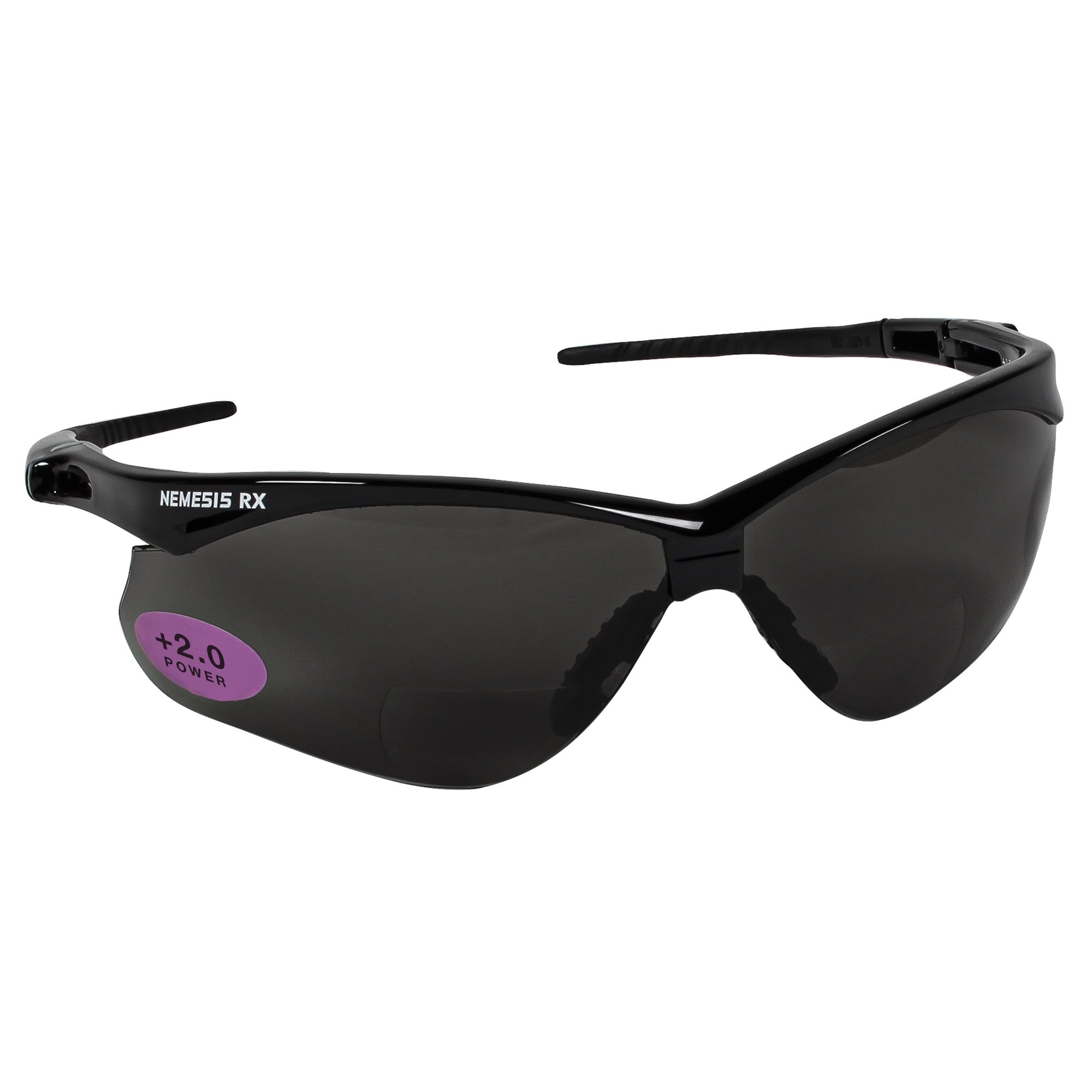 Jackson Safety V60 Nemesis Vision Correction Safety Sunglasses (22518), Smoke Readers with +2.0 Diopters, Black Frame, 6 Pairs/Case