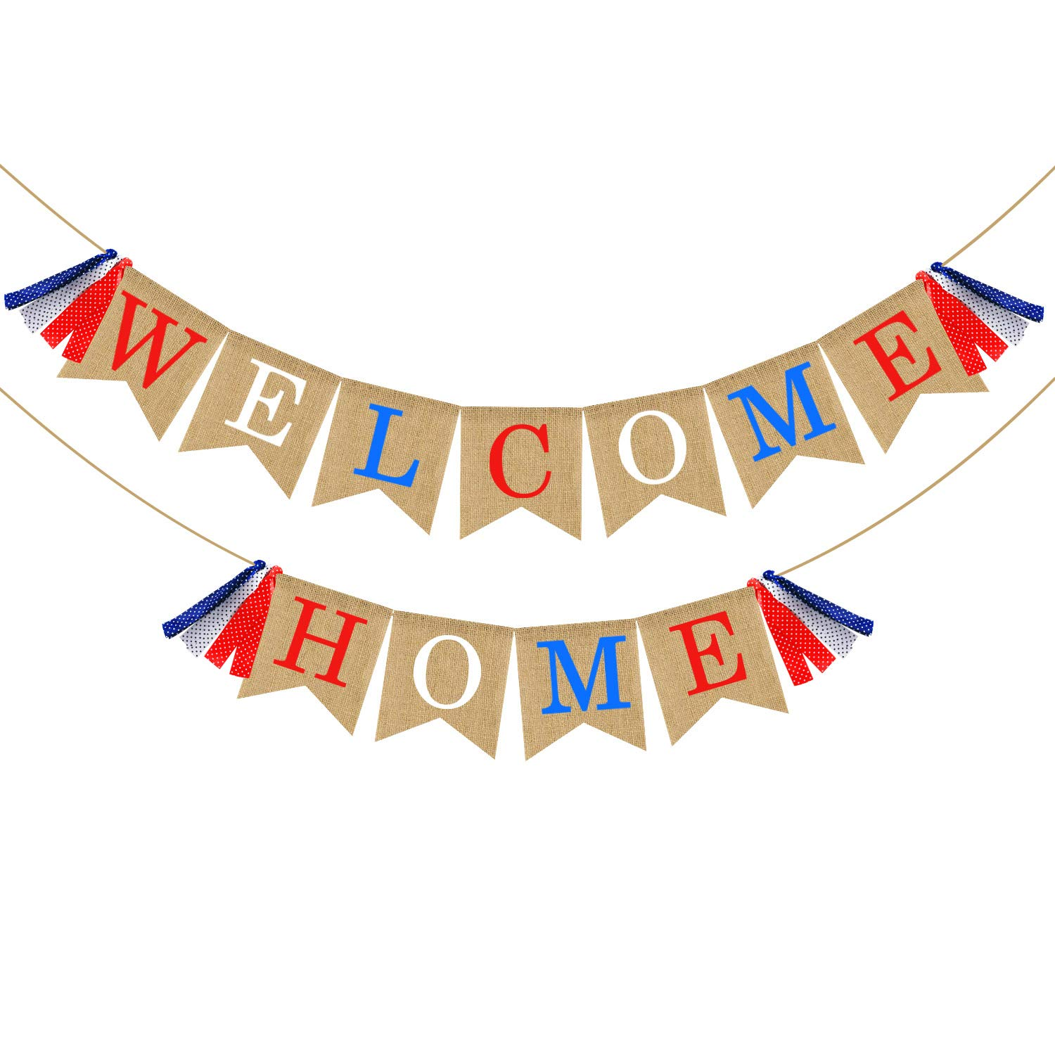 Welcome Home Banner Burlap - Patriotic Banner Bunting - Military Homecoming Banner - Your Family Members Friends Welcome Home Decorations Party Supplies - Red White & Blue