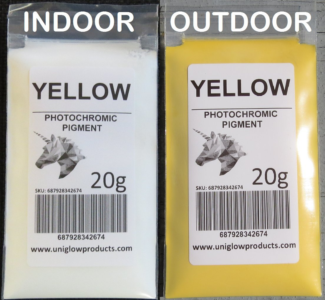 PhotoChromic Pigment changes colors when exposed to Sunlight or UV light, and reverts to its original color when sunlight is blocked. (100g, Yellow)