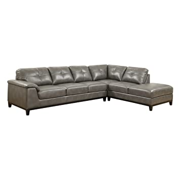 amazon com emerald home marquis gray sectional with faux leather rh amazon com