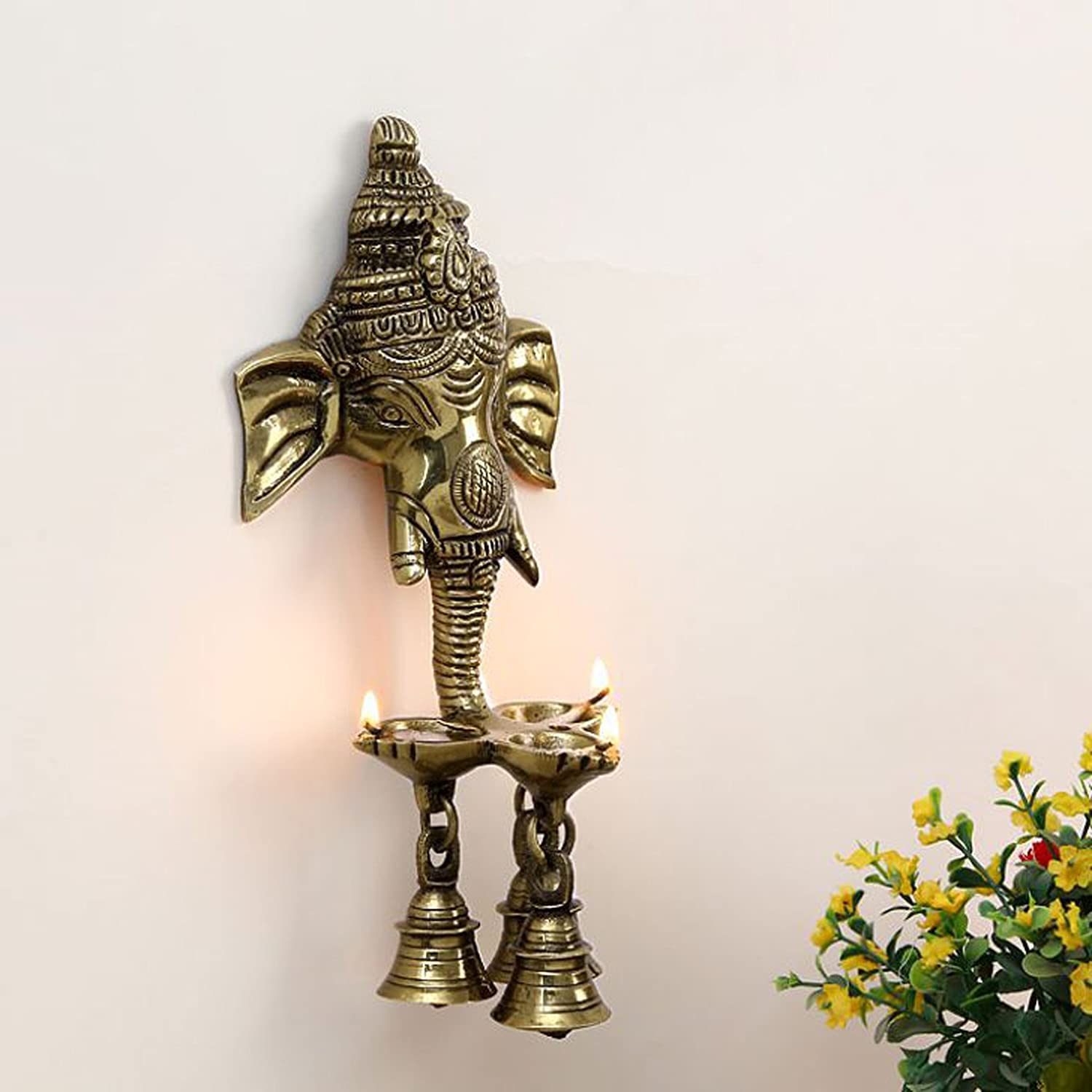 Aakrati Wall Hanging Three Diya Oil Lamp with Small Bells