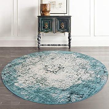 Loartee Vintage Bohemian Runde Teppich Fur Wohnzimmer Esszimmer Grun Round 3 4 Ft 100cm