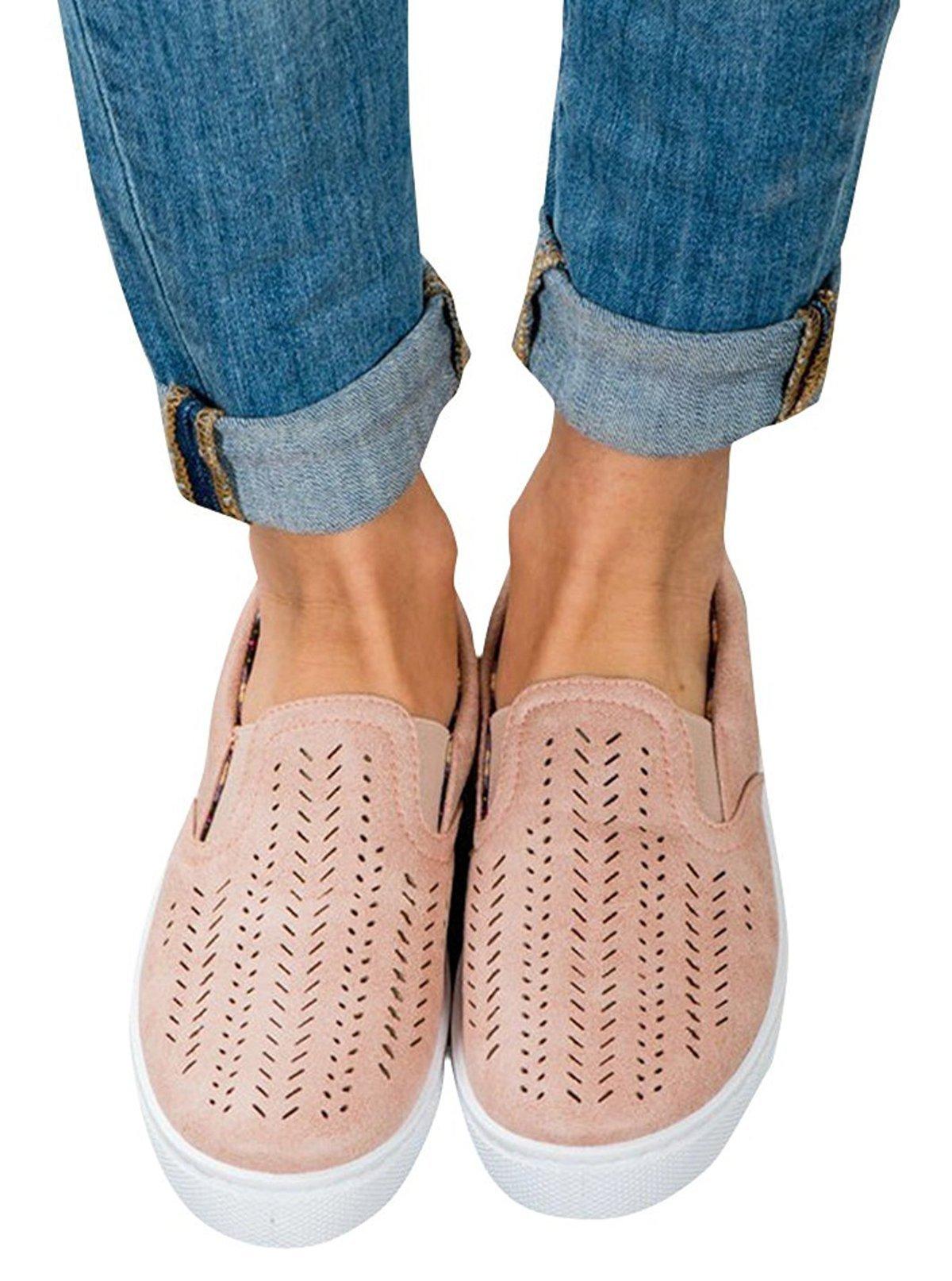 Paris Hill Women's Casual Hollow Loafer Canvas Flats Shoes, Lpink, Size 9.5